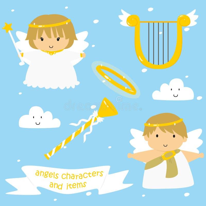 Grupo bonito do vetor dos caráteres e dos artigos dos anjos ilustração royalty free