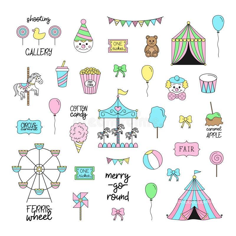 Grupo bonito do vetor do funfair do carnaval do circo ilustração do vetor
