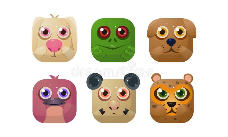 Grupo bonito dos animais, ícones quadrados do app, ativos para o GUI, design web, ilustração do vetor da loja da aplicação ilustração stock