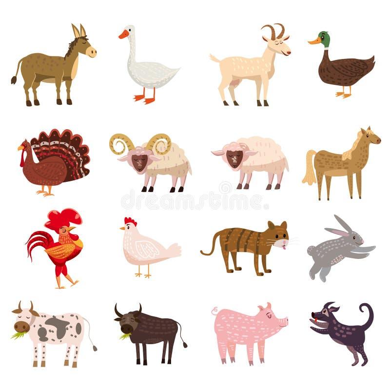Grupo bonito dos animais de exploração agrícola no estilo dos desenhos animados isolado no fundo branco Ilustração do vetor Anima ilustração do vetor
