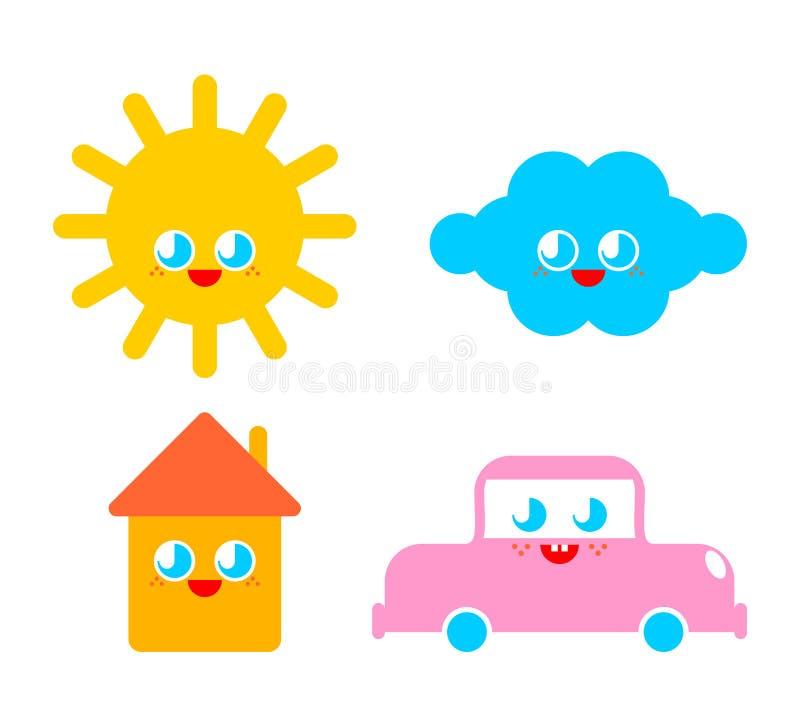 Grupo bonito dos caráteres sol e nuvem engraçados Estilo dos desenhos animados da casa e do carro caráter das crianças O estilo d ilustração royalty free