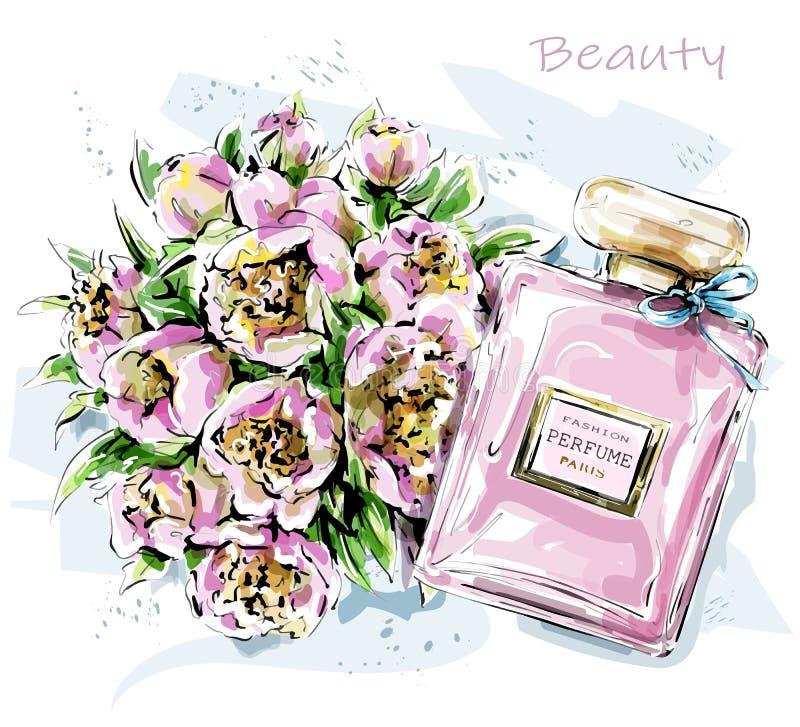 Grupo bonito tirado mão com flores e garrafa de perfume esbo?o ilustração do vetor
