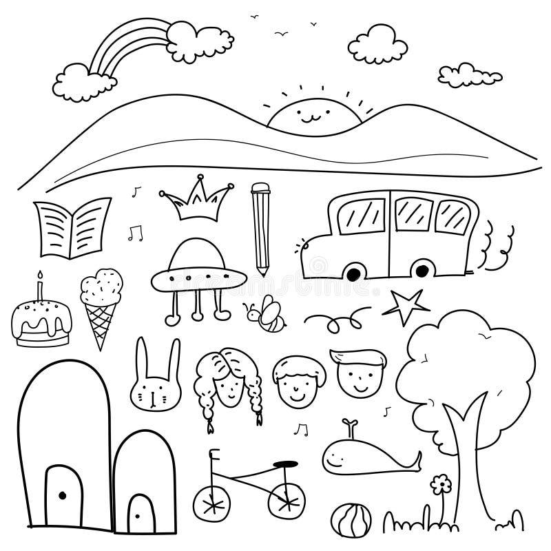 Grupo bonito tirado mão do vetor da garatuja para a criança ilustração stock