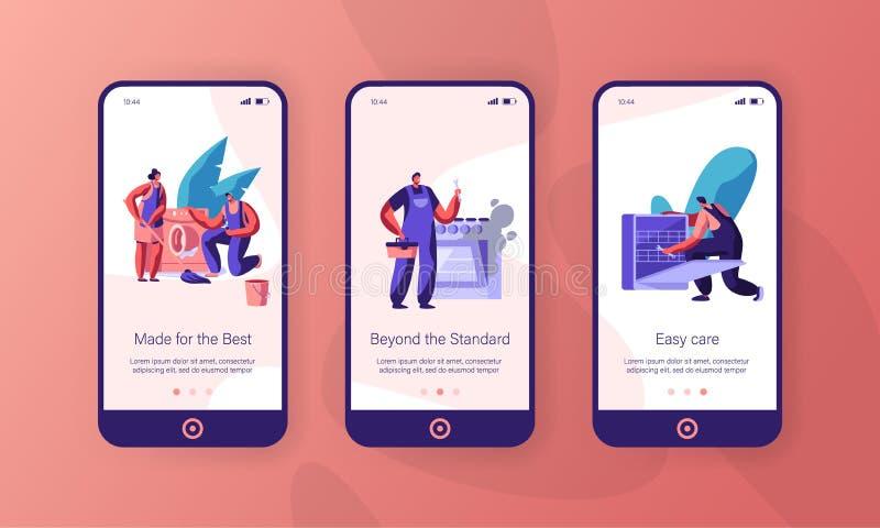 Grupo a bordo da tela da página do App de Fixing Appliance Mobile do reparador Trabalhador manual Repair Washing Machine e máquin ilustração royalty free