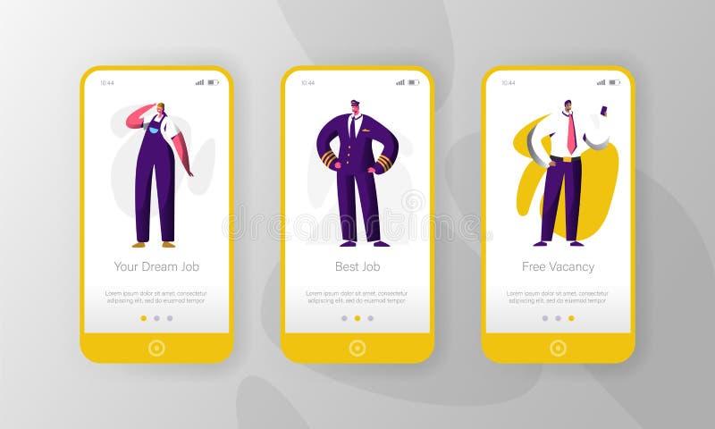 Grupo a bordo da tela da página móvel diferente do App do caráter da vaga da profissão do trabalho Carreira vaga para escolher Wo ilustração do vetor