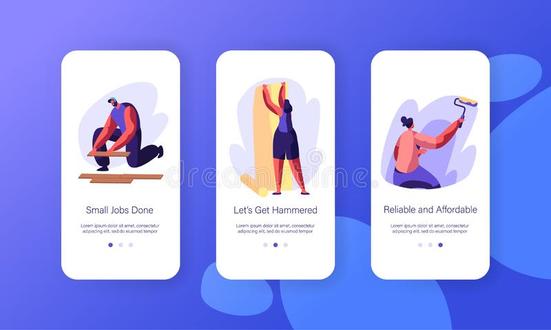 Grupo a bordo da tela da página móvel interior do App da decoração da renovação Trabalhador manual Lying Wooden Parquet Mulher qu ilustração stock