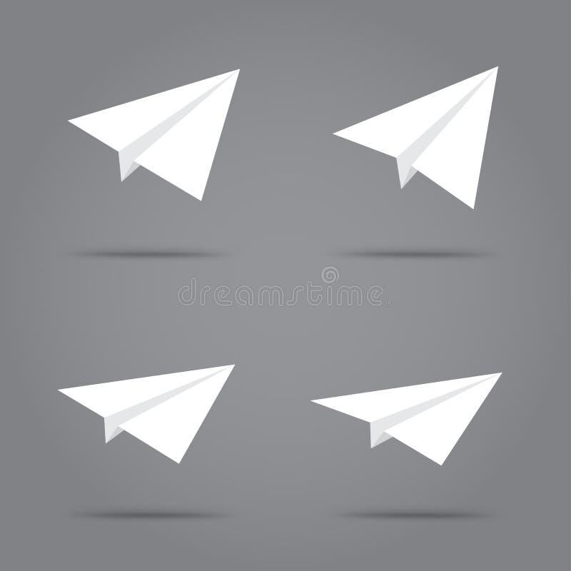 Grupo branco de papel do plano do origâmi ilustração do vetor