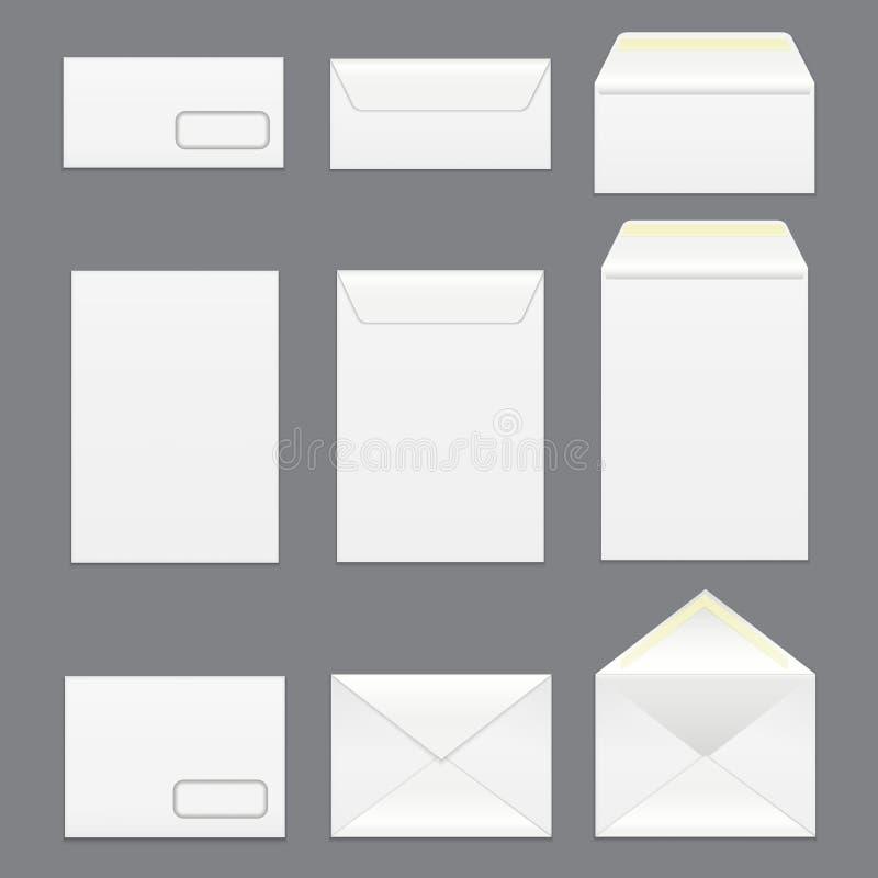 Grupo branco detalhado realístico do modelo do molde dos envelopes da placa 3d Vetor ilustração royalty free