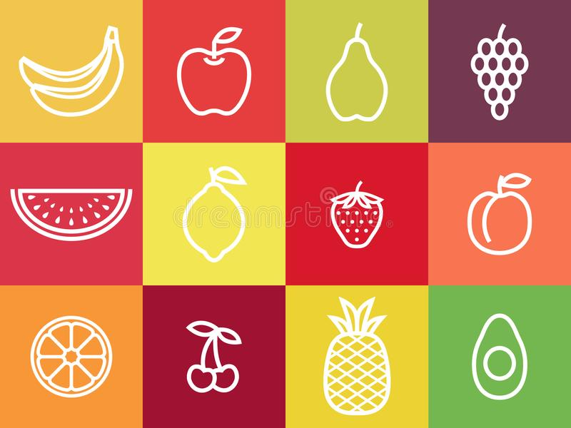 Grupo branco do ícone do fruto do esboço Frutos brancos do curso centrados em quadrados coloridos ilustração stock