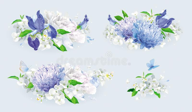 Grupo branco e azul do ramalhete das flores do verão ilustração do vetor