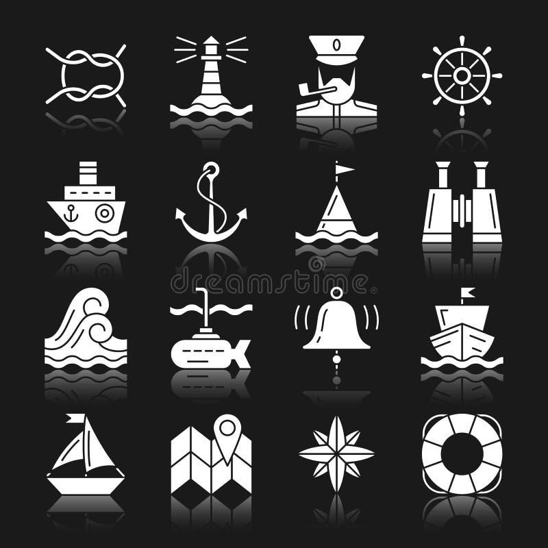 Grupo branco náutico do ícone da reflexão da silhueta ilustração do vetor