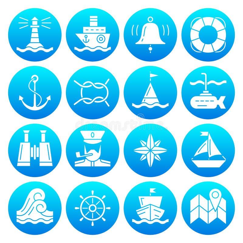 Grupo branco náutico do ícone da silhueta dos símbolos marinhos ilustração royalty free