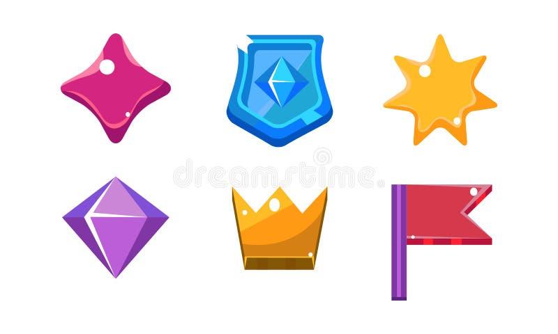 Grupo brilhante colorido das formas da geleia, cristal, protetor, coroa, estrela, bandeira, ativos da interface de usuário para a ilustração royalty free