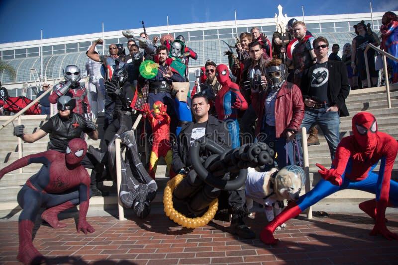 Grupo cómico Cosplayers 5 de la expo de Long Beach foto de archivo libre de regalías