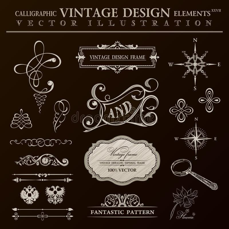 Grupo caligráfico do vintage dos elementos do projeto Quadro do ornamento do vetor ilustração do vetor