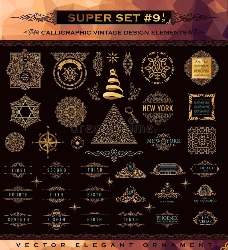 Grupo caligráfico dos emblemas Elementos do projeto do ouro da crista do vintage ilustração do vetor