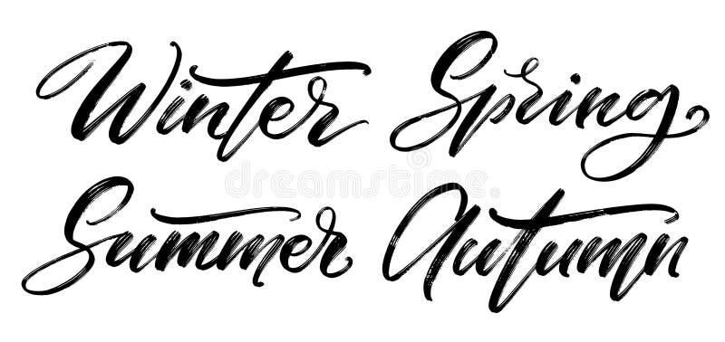 Grupo caligr?fico do vetor E r Palavras do inverno, da mola, do verão e do outono no branco ilustração royalty free