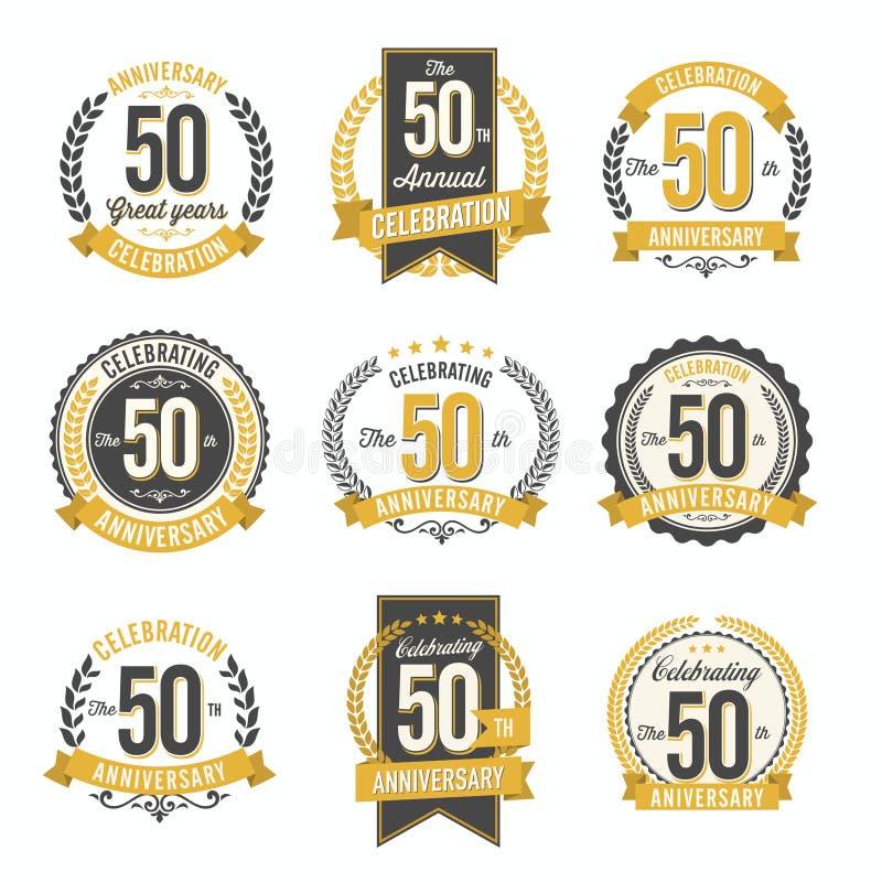 Grupo celebração do ano dos crachás retros do aniversário de 50th ilustração royalty free