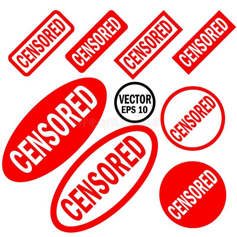 Grupo censurado de vermelho circularmente e de carimbos de borracha quadrados ilustração royalty free