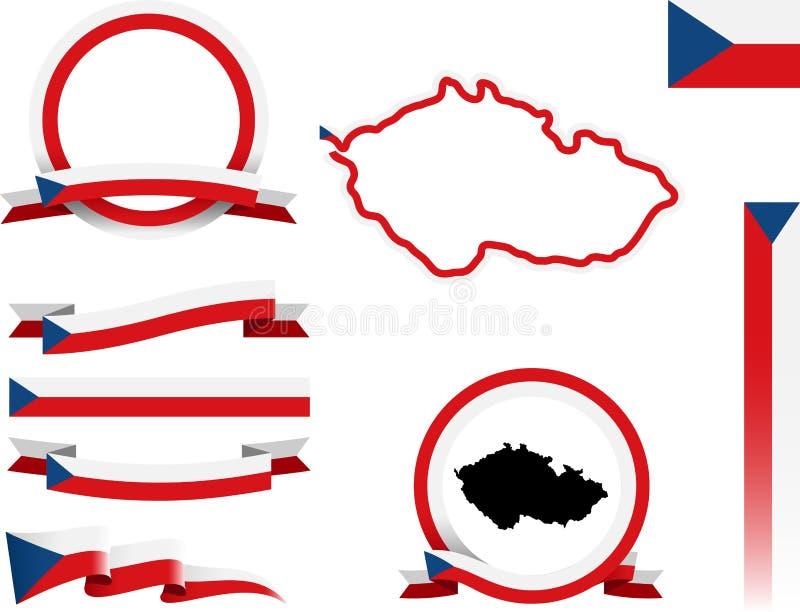 Grupo checo da bandeira ilustração stock