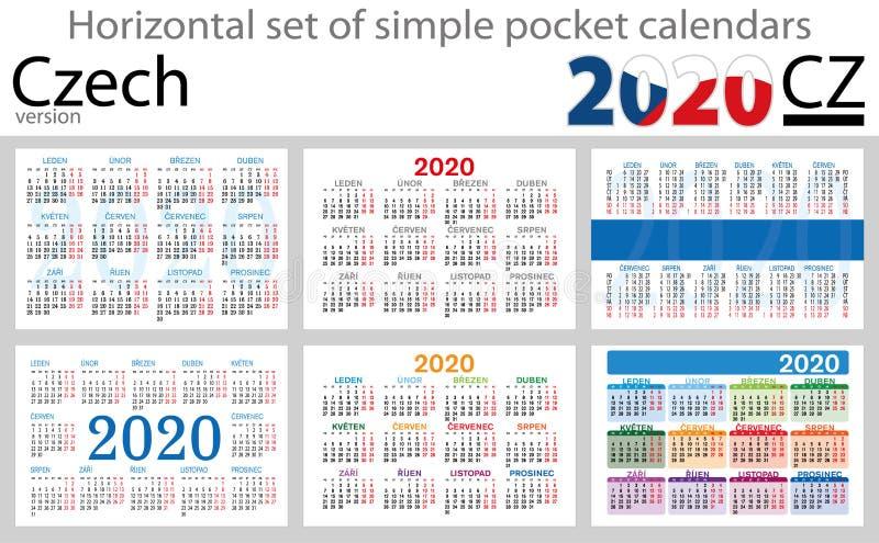 Grupo checo de calendários do bolso para 2020 ilustração royalty free