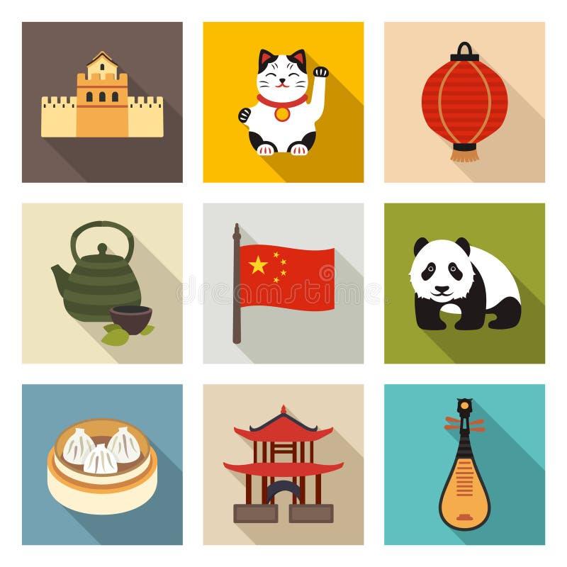 Grupo chinês do ícone do tema ilustração stock