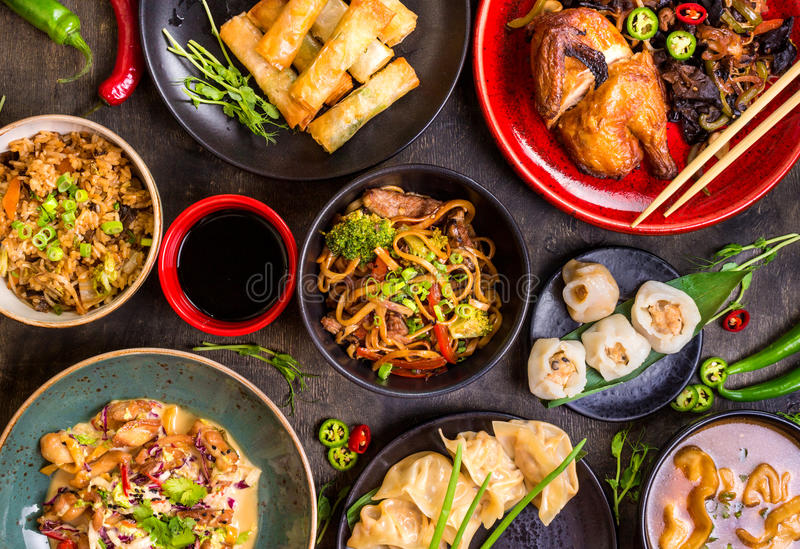 Grupo chinês sortido do alimento imagem de stock royalty free