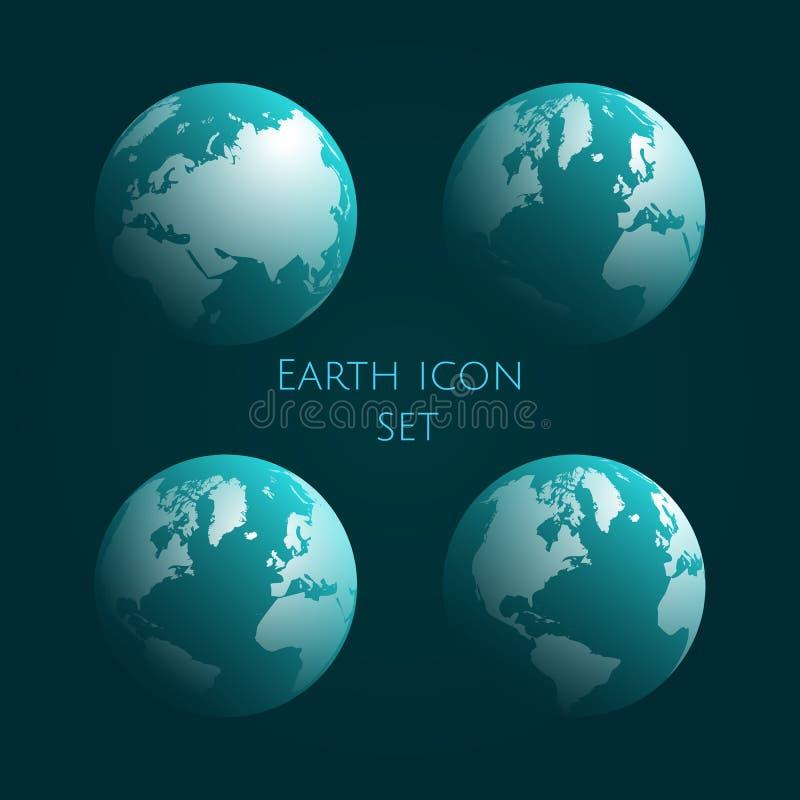 Grupo ciano do ícone do globo da terra Jogo azul do globo Ilustração do vetor Eps 10 ilustração do vetor