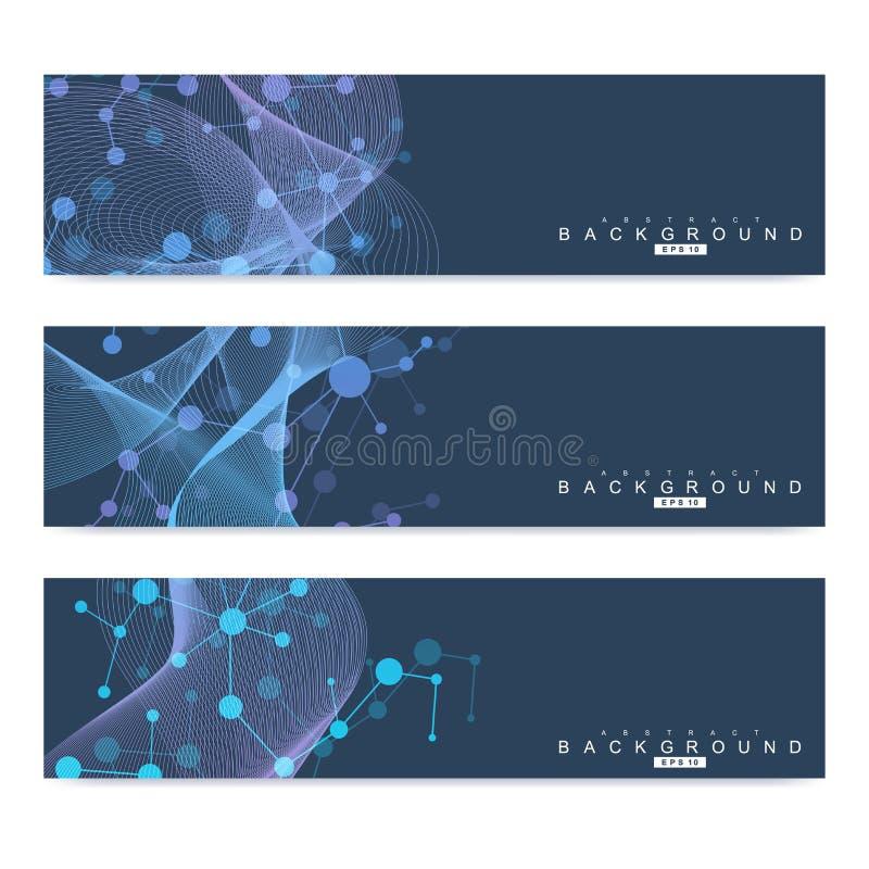 Grupo científico de bandeiras modernas do vetor Estrutura da molécula do ADN com linhas e os pontos conectados Fundo do vetor da  ilustração stock