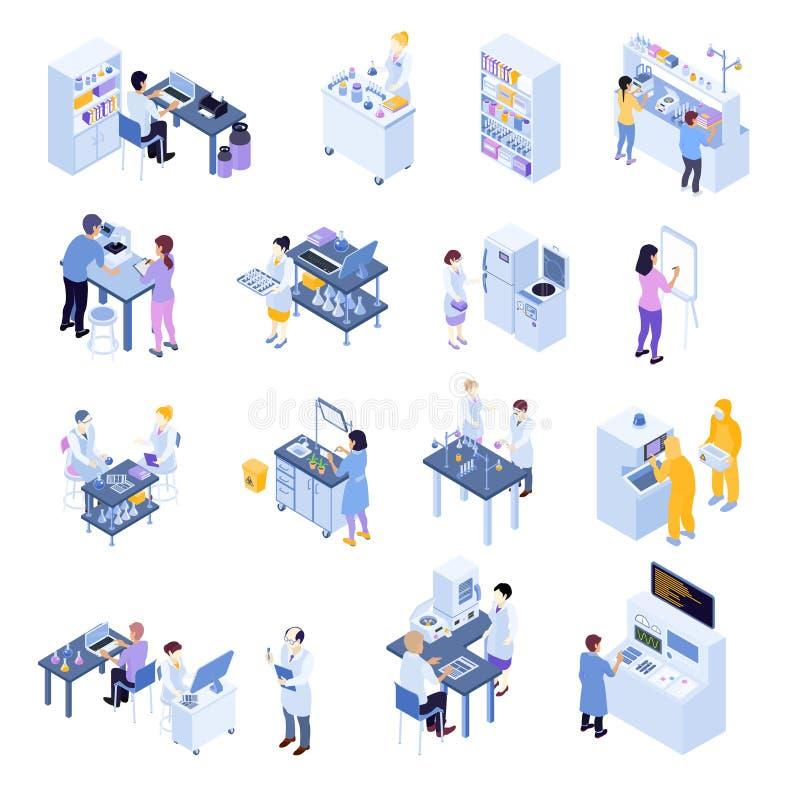 Grupo científico isométrico do ícone do laboratório ilustração do vetor