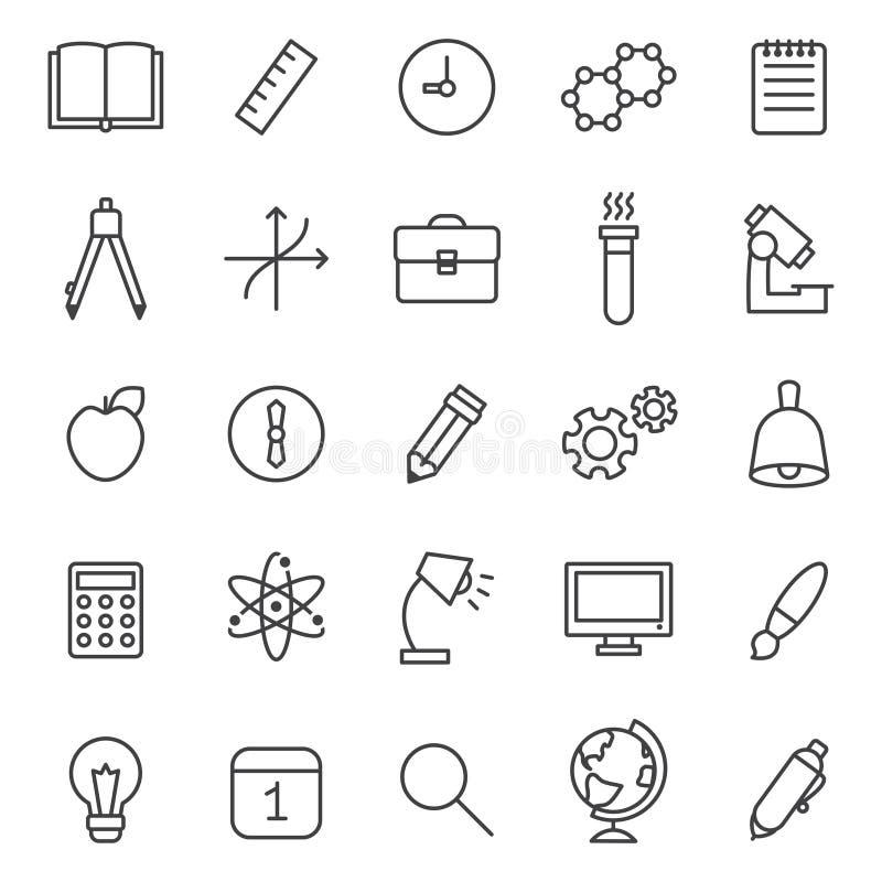 Grupo cinzento do vetor dos ícones do esboço da educação e da ciência projeto minimalistic moderno ilustração do vetor