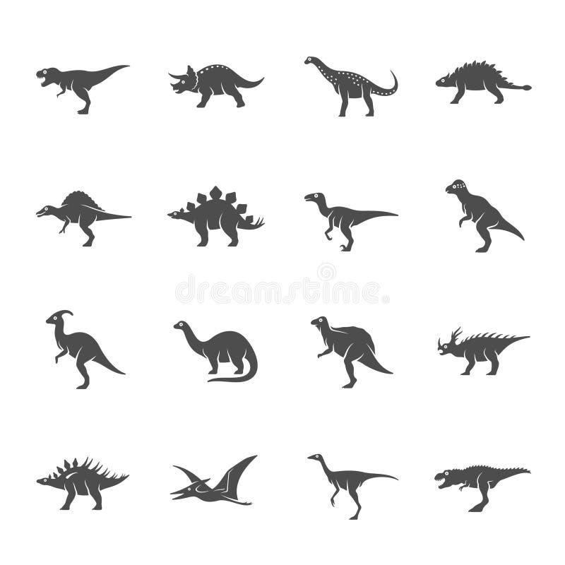 Grupo cinzento escuro do ícone do vetor dos dinossauros ilustração stock