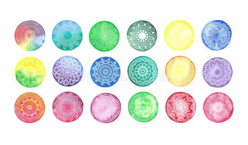 Grupo circular do teste padrão da aquarela de motivos tradicionais e de ornamento orientais antigos ilustração stock