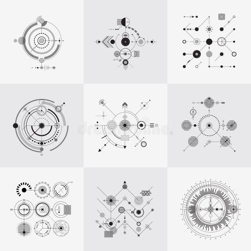 Grupo circular do vetor das grades da tecnologia científica do bauhaus ilustração do vetor
