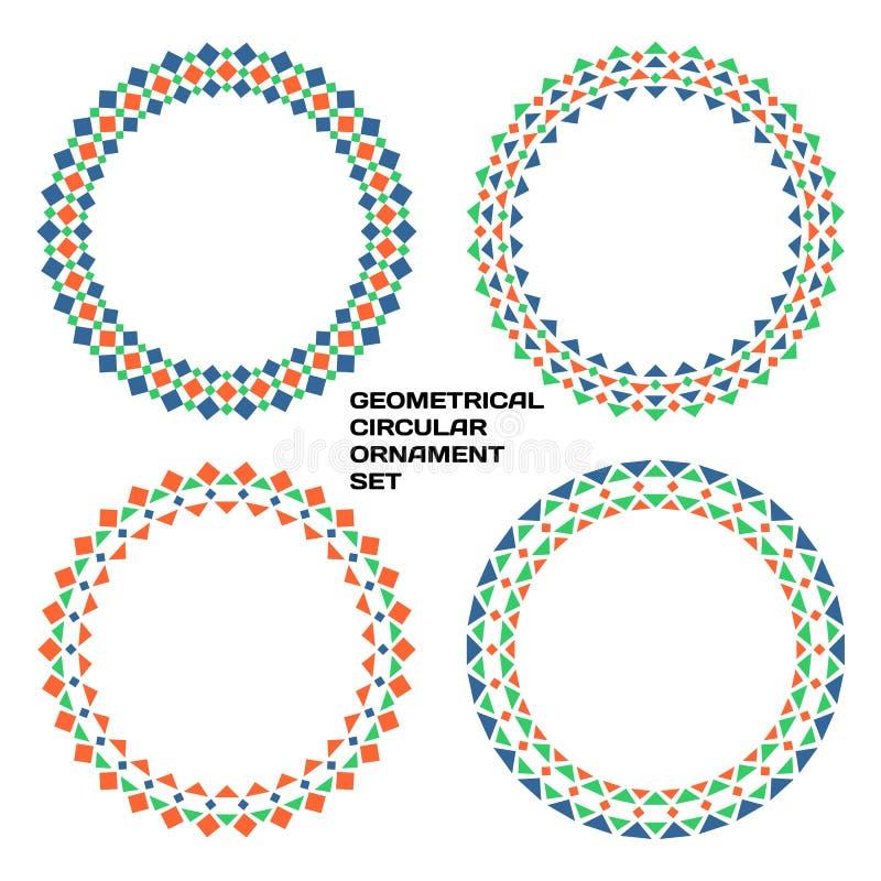 Grupo circular geométrico do ornamento ilustração royalty free