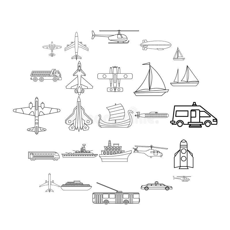 Grupo civil dos ícones do transporte, estilo do esboço ilustração stock