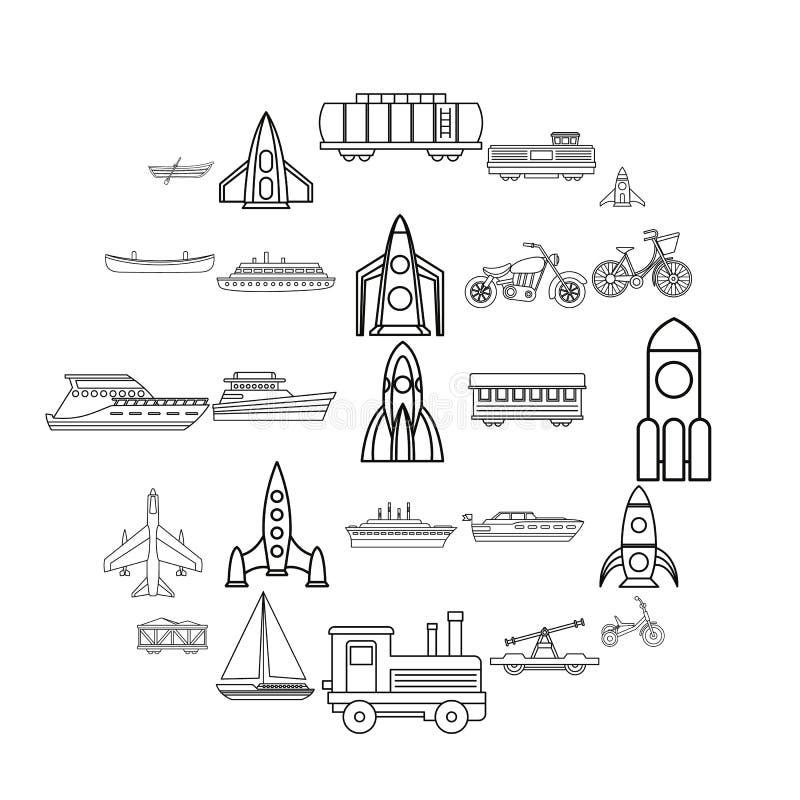 Grupo civil dos ícones do veículo, estilo do esboço ilustração royalty free
