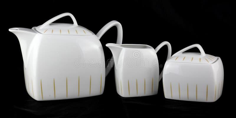 Grupo clássico branco da porcelana fotografia de stock