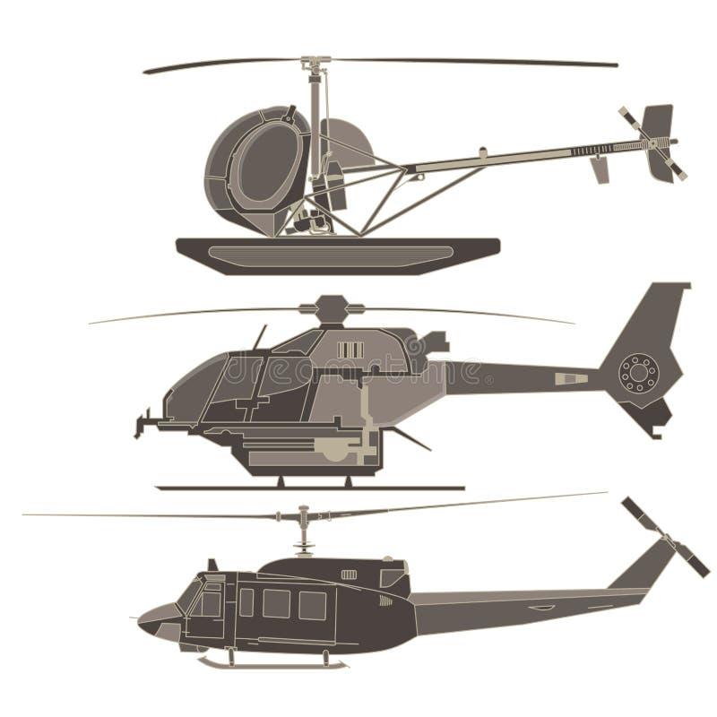 Grupo, coleção, helicópteros do bloco ilustração stock