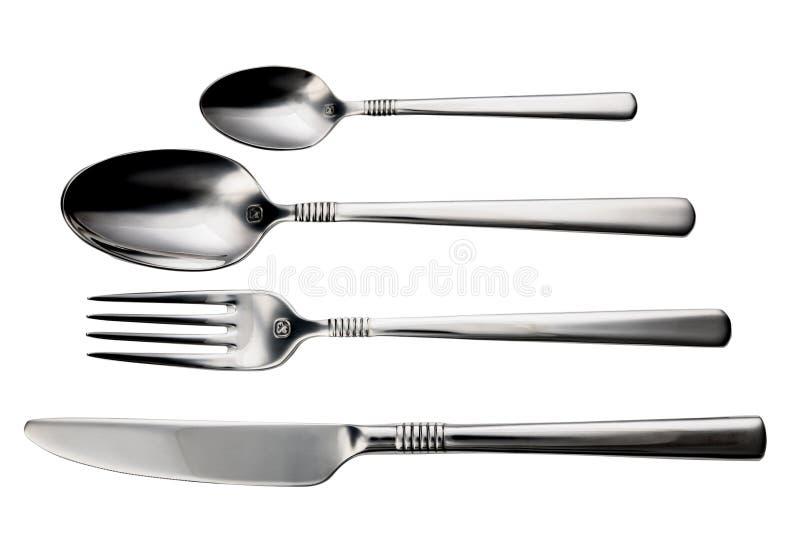 Grupo-colher da cutelaria, forquilha, faca, no fundo branco isolado foto de stock