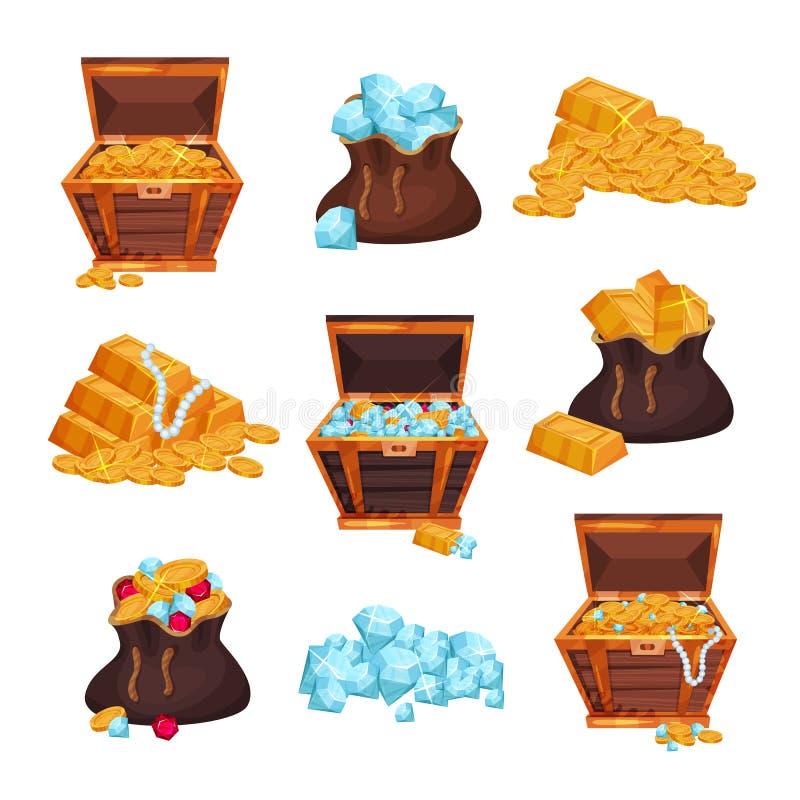 Grupo colorido com caixas e os sacos completos dos tesouros, pilhas de barras douradas, moedas e diamantes Vetor liso colorido ilustração stock