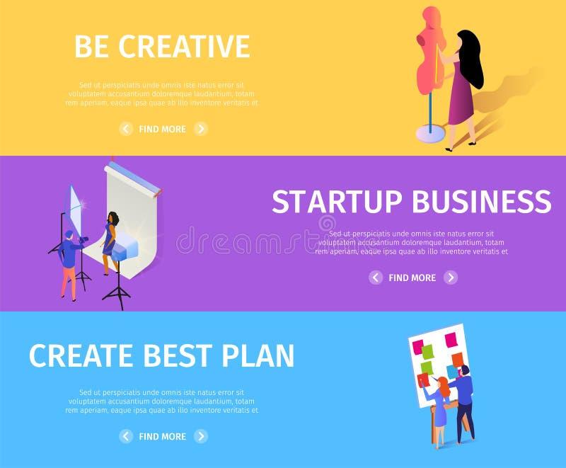 Grupo colorido da bandeira do plano criativo do negócio da partida ilustração stock