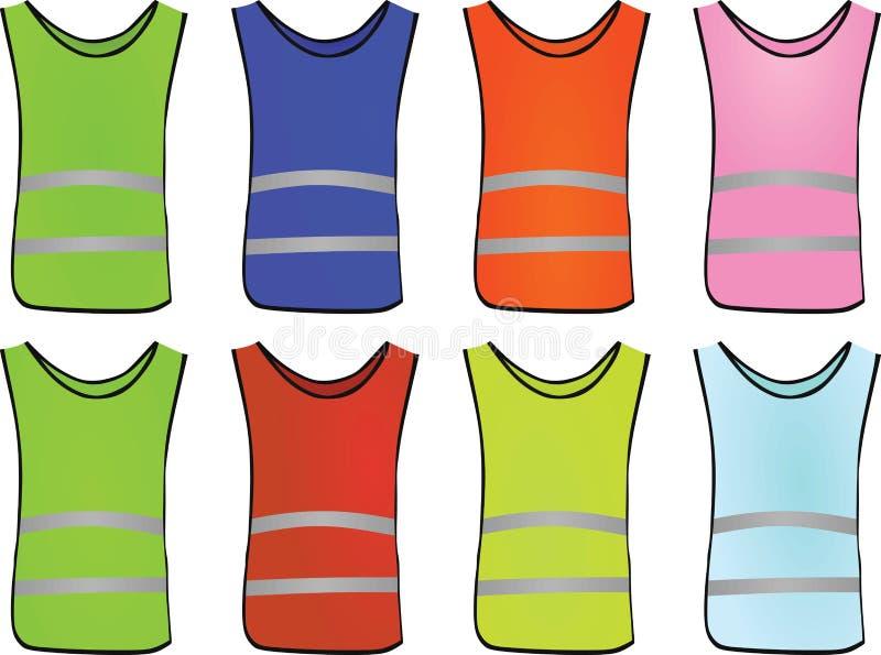 Grupo colorido da veste da segurança ilustração stock