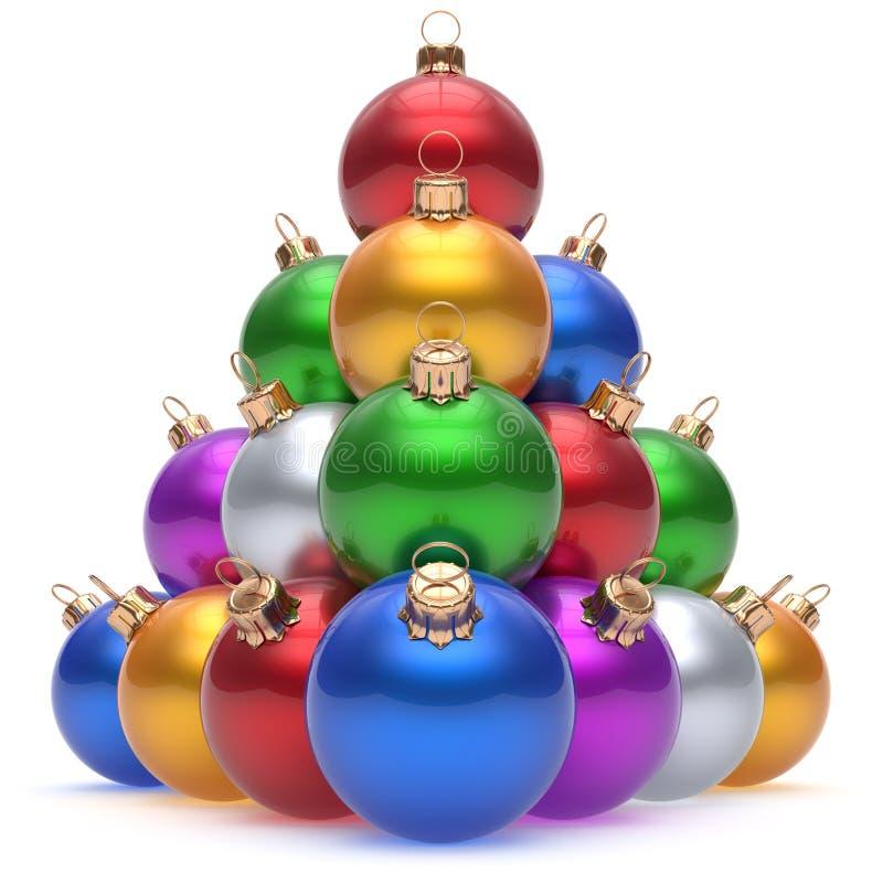 Grupo colorido das quinquilharias da véspera de Ano Novo da pirâmide da bola do Natal ilustração stock