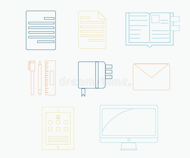 Grupo colorido de ícone da produtividade ilustração do vetor