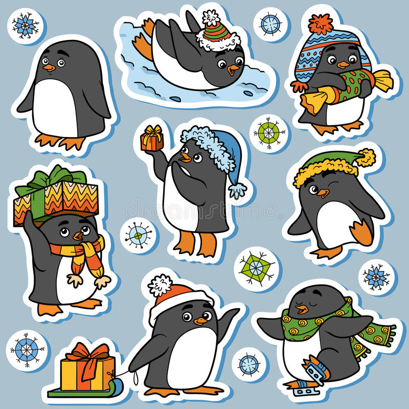 Grupo colorido de animais bonitos, família dos pinguins ilustração do vetor
