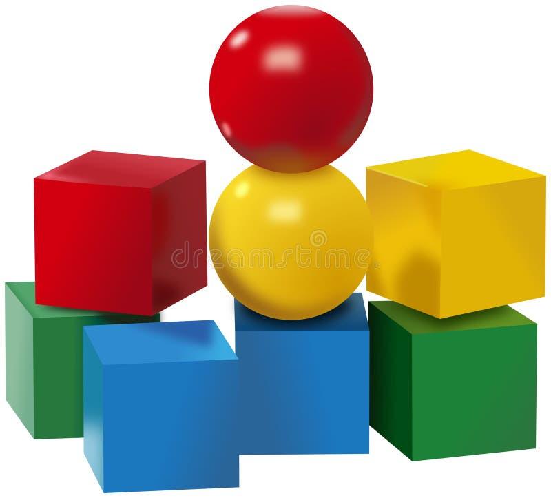 Grupo colorido de bolas e de brinquedos dos cubos ilustração do vetor