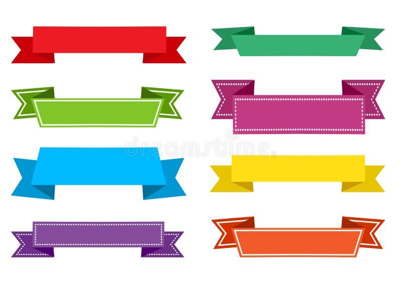 Grupo colorido de fitas festivas Vetor ilustração stock