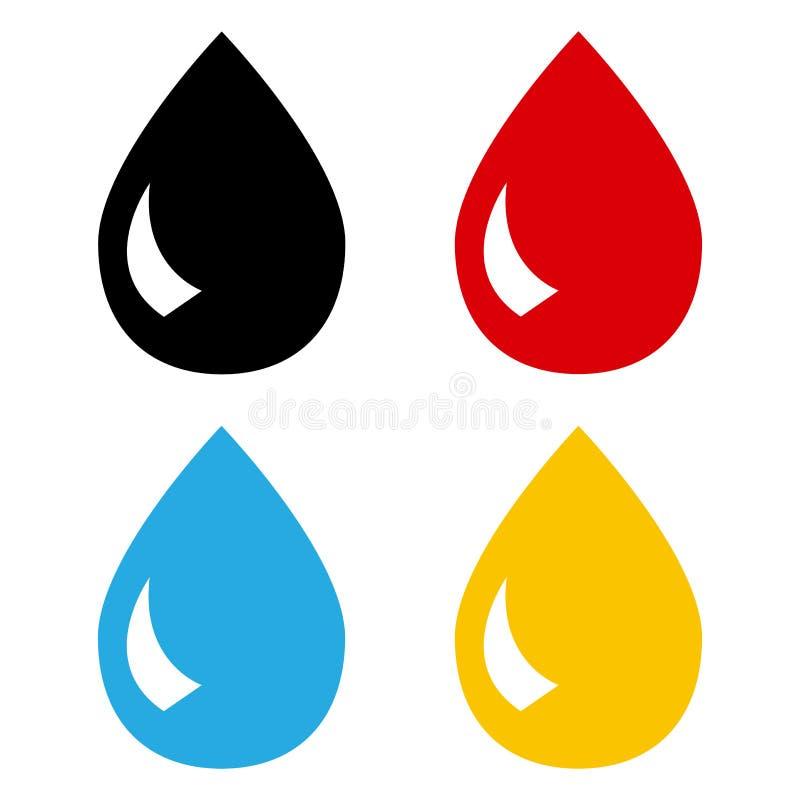 Grupo colorido de gotas Tinta, sangue, água, óleo Vetor ilustração do vetor