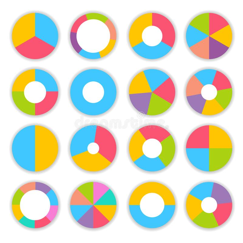 Grupo colorido de Infographic dos gráfico de setores circulares ilustração stock